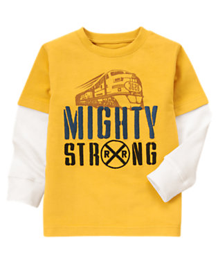 Mustard Yellow Mighty Strong Train Double Sleeve Tee by Gymboree