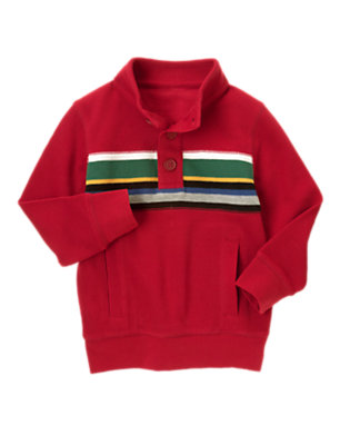 Caboose Red Chest Stripe Pullover by Gymboree