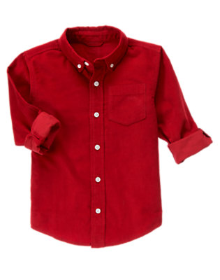 Caboose Red Corduroy Shirt by Gymboree