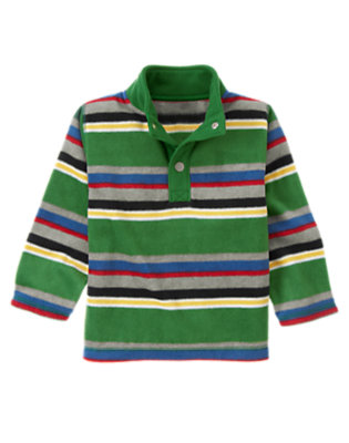 Ivy Green Multi Stripe Stripe Microfleece Pullover by Gymboree