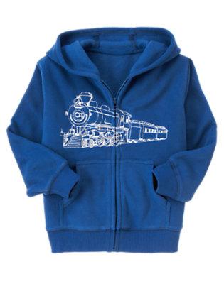 Royal Blue Train Microfleece Hoodie by Gymboree