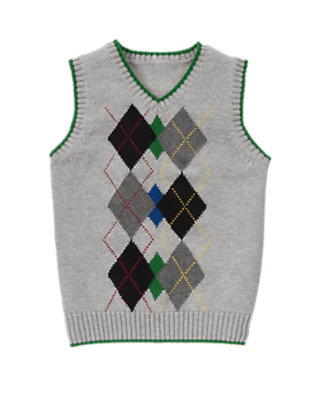 Heather Grey Tipped Argyle Sweater Vest by Gymboree