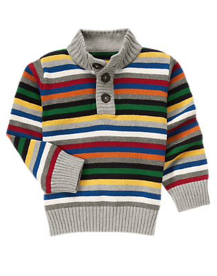 Boys Heather Grey Stripe Stripe Sweater Pullover by Gymboree