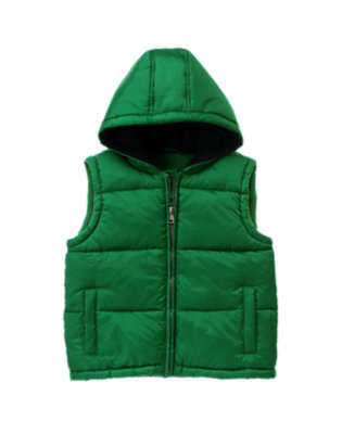 Ivy Green Hooded Puffer Vest by Gymboree