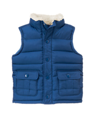 Royal Blue Sherpa Collar Puffer Vest by Gymboree