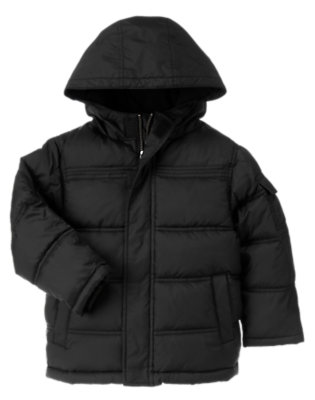 Black Hooded Puffer Jacket by Gymboree