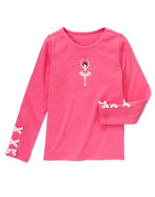 Pirouette Pink Gem Ribbon Ballerina Tee by Gymboree