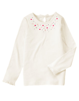 Vanilla Ivory Gem Dot Tee by Gymboree