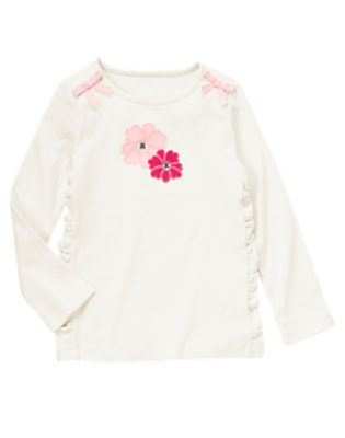 Vanilla Ivory Gem Flower Bow Tee by Gymboree