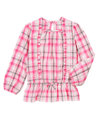 Pirouette Pink Plaid Plaid Ruffle Top by Gymboree