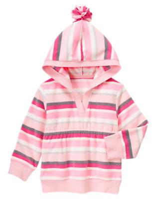 Girls Ballerina Pink Stripe Stripe Pullover Microfleece Hoodie by Gymboree