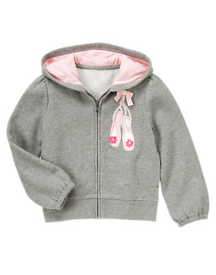 Girls Heather Grey Bow Ballet Shoe Fleece Hoodie by Gymboree