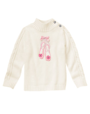 Girls Vanilla Ivory Gem Bow Ballet Shoe Sweater by Gymboree