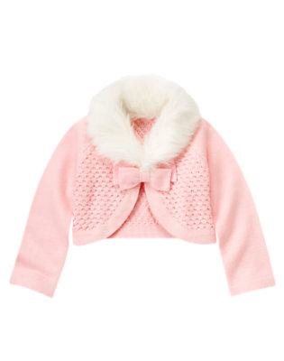 Girls Ballerina Pink Bow Faux Fur Crop Sweater Cardigan by Gymboree
