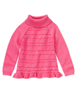 Girls Pirouette Pink Gem Cable Sweater Tunic by Gymboree