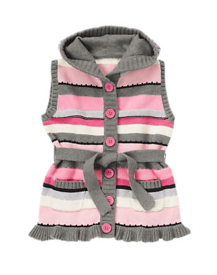 Girls Silver Stripe Stripe Hooded Sweater Vest by Gymboree