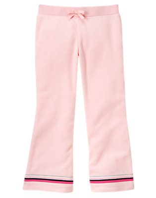 Girls Ballerina Pink Stripe Hem Microfleece Pant by Gymboree