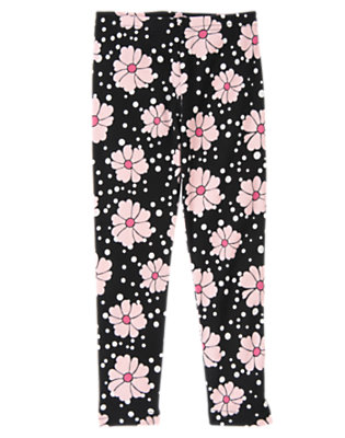Girls Black Floral Flower Legging by Gymboree