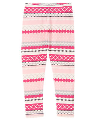 Girls Ballerina Pink Fair Isle Fair Isle Legging by Gymboree