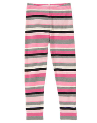 Girls Heather Grey Stripe Stripe Legging by Gymboree