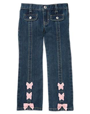 Girls Denim Criss Cross Bow Bootcut Jean by Gymboree