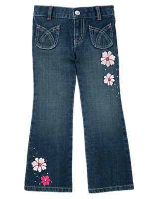 Girls Denim Gem Flower Jean by Gymboree