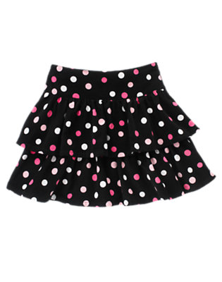 Girls Black Dot Dot Ruffle Corduroy Skort by Gymboree