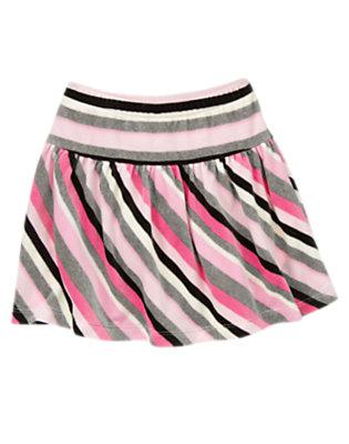 Heather Grey Stripe Stripe Velour Skort by Gymboree