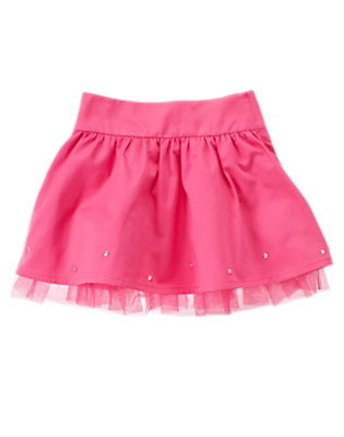 Girls Pirouette Pink Gem Tulle Sateen Skirt by Gymboree
