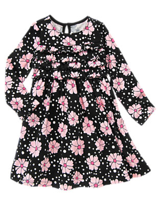 Girls Black Floral Flower Ruffle Dress by Gymboree