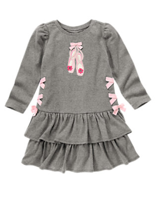 Girls Heather Grey Bow Ballet Shoe Ruffle Dress by Gymboree