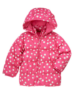 Girls Pirouette Pink Dot Dot Hooded Puffer Coat by Gymboree