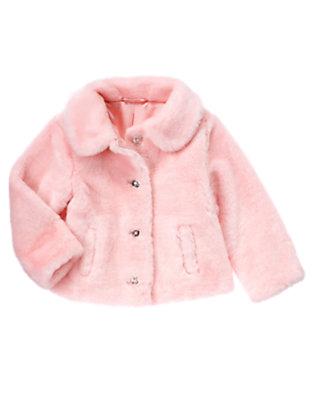 Girls Ballerina Pink Faux Fur Coat by Gymboree