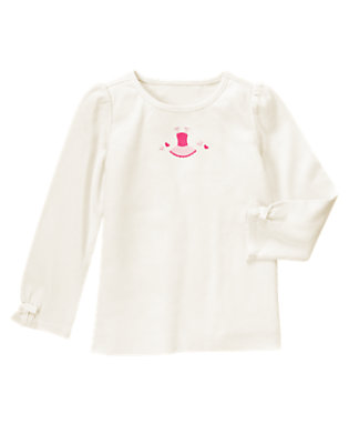 Vanilla Ivory Embroidered Ballet Tutu Bow Tee by Gymboree