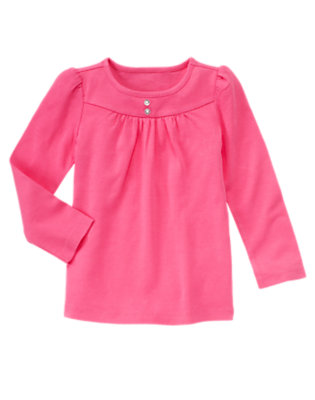 Pirouette Pink Gem Button Tee by Gymboree