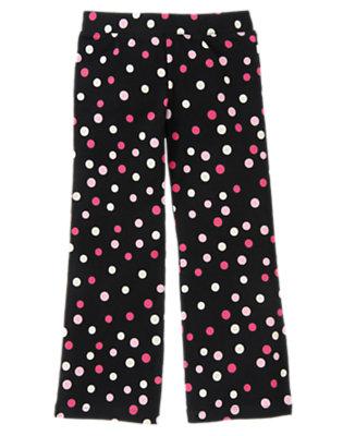 Girls Black Dot Dot Flare Pant by Gymboree
