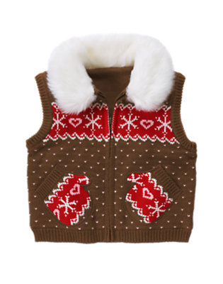 Toddler Girls Chestnut Brown Fair Isle Faux Fur Collar Fair Isle Sweater Vest by Gymboree