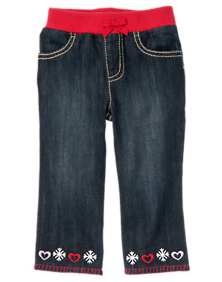 Denim Embroidered Heart Snowflake Jean by Gymboree