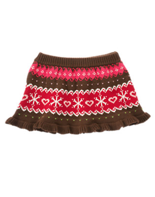 Chestnut Brown Fair Isle Fair Isle Sweater Skirt by Gymboree
