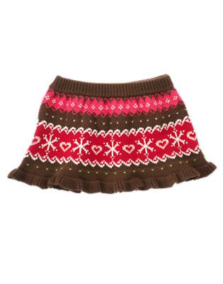 Toddler Girls Chestnut Brown Fair Isle Fair Isle Sweater Skirt by Gymboree