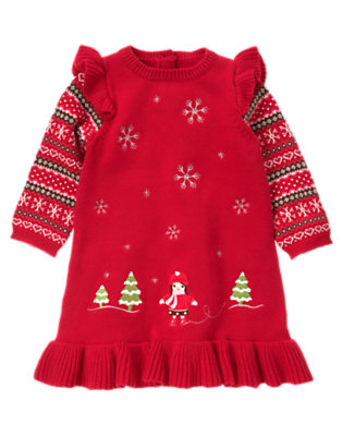 Cheery Red Winter Scenic Double Sleeve Sweater Dress by Gymboree
