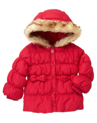 Cheery Red Faux Fur Hooded Puffer Jacket by Gymboree