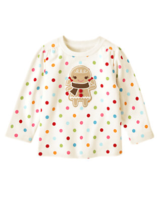 Holiday Ivory Dot Dot Button Gingerbread Girl Tee by Gymboree