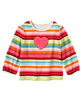 Winter Pink Stripe Heart Stripe Tee by Gymboree