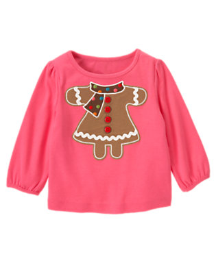 Winter Pink Button Ric Rac Gingerbread Girl Tee by Gymboree