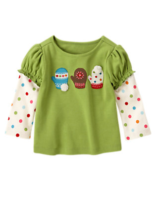 Joyful Green Pom Pom Mittens Double Sleeve Tee by Gymboree