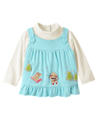 Cozy Blue Gingerbread Girl Double Sleeve Top by Gymboree