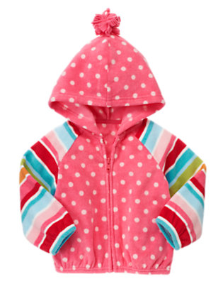 Toddler Girls Winter Pink Dot Dot Stripe Microfleece Hoodie by Gymboree