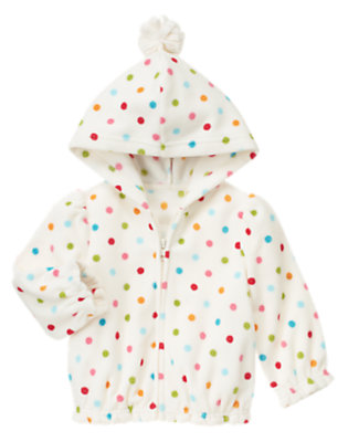 Toddler Girls Holiday Ivory Dot Dot Microfleece Hoodie by Gymboree