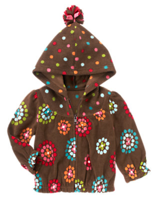 Toddler Girls Chestnut Brown Dot Flower Dot Flower Microfleece Hoodie by Gymboree